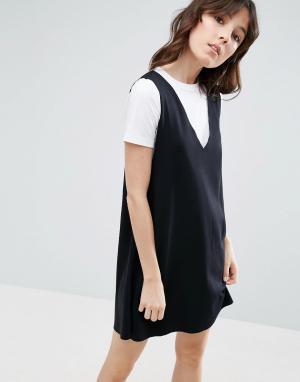 ASOS Платье-майка 2 в 1. Цвет: черный