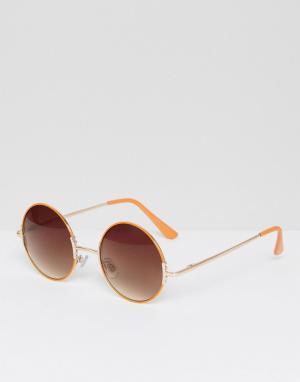Pieces Солнцезащитные очки в круглой оправе. Цвет: оранжевый