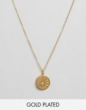 Ottoman Hands Эксклюзивное ожерелье с подвеской Crown Chakara. Цвет: золотой