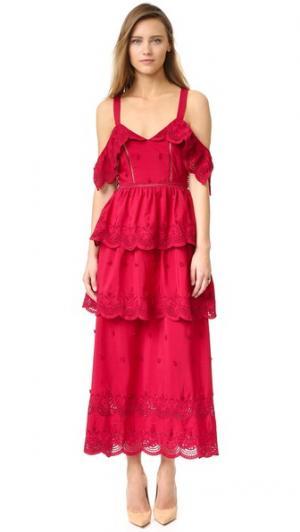 Платье с открытыми плечами и оборками Self Portrait. Цвет: красный