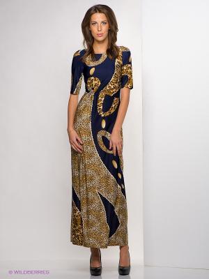 Платье МадаМ Т. Цвет: темно-синий, коричневый
