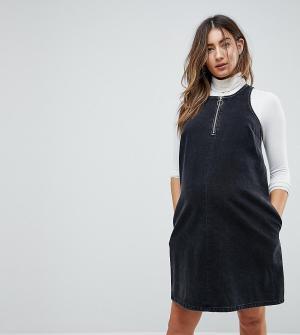 ASOS Maternity Черное выбеленное джинсовое платье. Цвет: черный