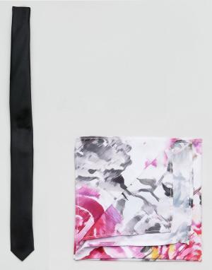 ASOS Узкий галстук и розовый платок для пиджака с цветочным принтом Bl. Цвет: черный