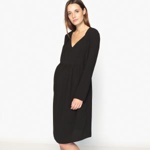Платье с V-образным вырезом для периода беременности La Redoute Collections. Цвет: красный,черный