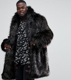 ASOS Коричневое пальто из искусственного меха PLUS. Цвет: коричневый
