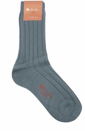 Кашемировые носки с логотипом бренда Loro Piana. Цвет: синий