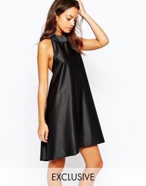 Never Fully Dressed Атласное платье с глубоким вырезом сзади. Цвет: черный