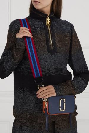 Сумка из сафьяновой кожи Snapshot Marc Jacobs. Цвет: синий