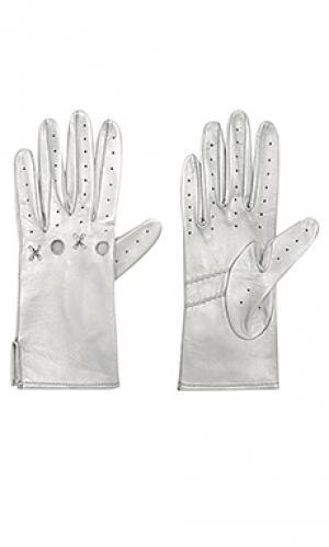 Кожаные перчатки xoxo Yestadt Millinery. Цвет: металлический серебряный