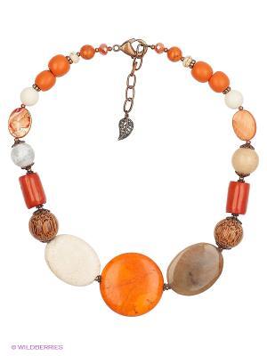 Колье Роман с камнем. Цвет: белый, оранжевый