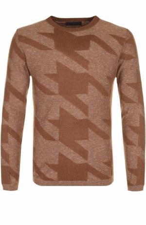 Джемпер тонкой вязки из смеси шерсти и хлопка Daniele Fiesoli. Цвет: светло-коричневый
