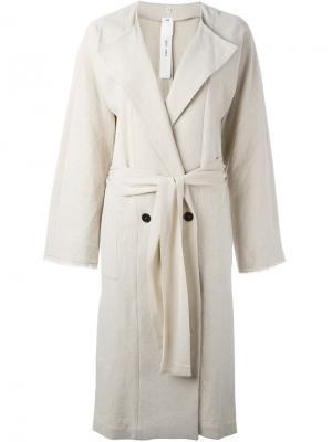 Двубортное пальто Damir Doma. Цвет: телесный