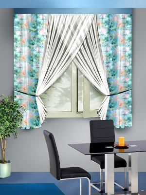 Комплект штор ZLATA KORUNKA. Цвет: бирюзовый
