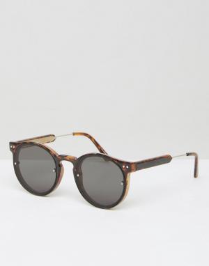 Spitfire Круглые солнцезащитные очки. Цвет: коричневый