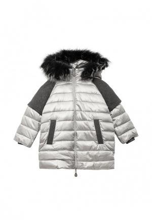 Куртка утепленная Gulliver. Цвет: серебряный