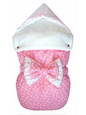 Конверт на выписку JustCute Джульетта Pink (зима) СуперМаМкет. Цвет: розовый, белый
