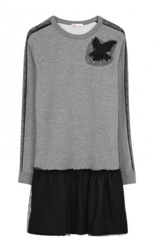 Хлопковое мини-платье с контрастной юбкой и длинным рукавом REDVALENTINO. Цвет: серый