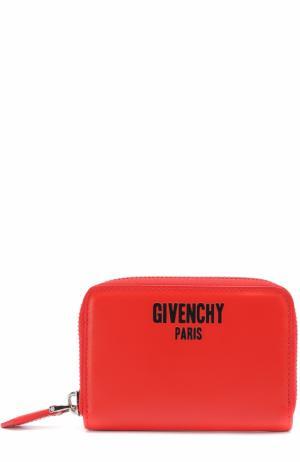 Кожаное портмоне на молнии с отделением для кредитных карт Givenchy. Цвет: красный