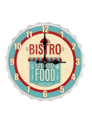 Настенные часы Bistro Good Food Contento. Цвет: голубой, красный, светло-бежевый