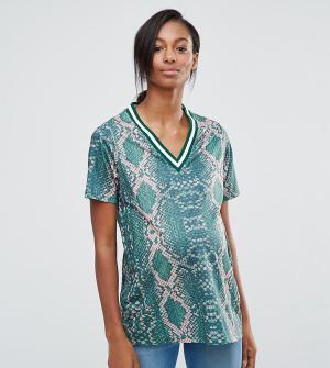 ASOS Maternity Длинная рубашка для беременных с принтом и окантовкой. Цвет: мульти