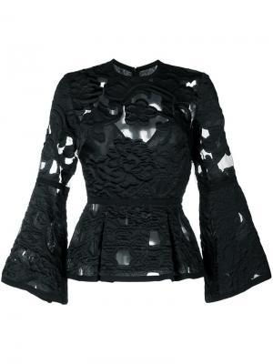 Блузка с вышивкой Elie Saab. Цвет: чёрный