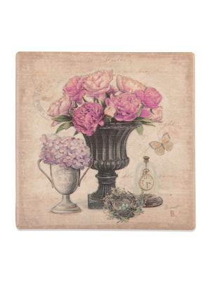 Подставка под горячее Цветы в вазе с высокими часами  DAVANA. Цвет: сиреневый, бежевый, розовый