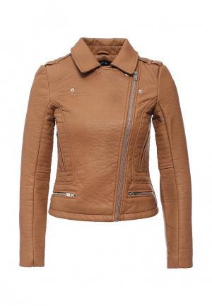 Куртка кожаная LOST INK. Цвет: коричневый