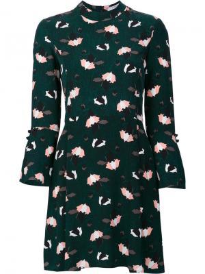 Расклешенное платье с цветочным рисунком Derek Lam 10 Crosby. Цвет: зелёный