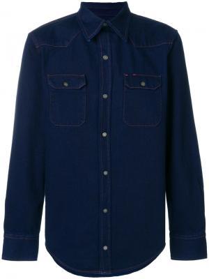 Приталенная джинсовая рубашка Calvin Klein Jeans. Цвет: синий