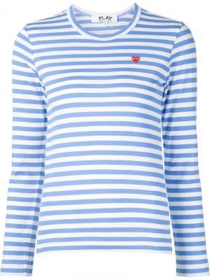 Полосатая футболка с вышивкой сердца Comme Des Garçons Play. Цвет: синий