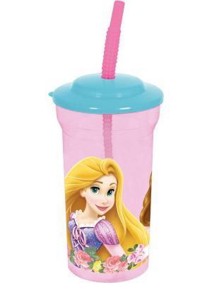 Стакан пластиковый с соломинкой и крышкой(прозрачный, 460 мл). Принцессы Stor. Цвет: розовый