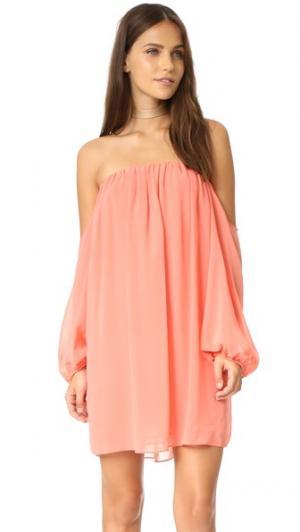 Платье с открытыми плечами MISA. Цвет: оранжевый