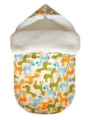 Конверт на овчине JustCute Лошадки (зима) СуперМаМкет. Цвет: кремовый