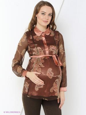 Блузка MammySize. Цвет: коричневый