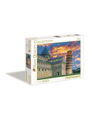 Итальянский пазл Clementoni. Серия HQ. Италия, Вид на Пизанскую башню. 500 эл. Clementoni. Цвет: синий, горчичный, серо-коричневый
