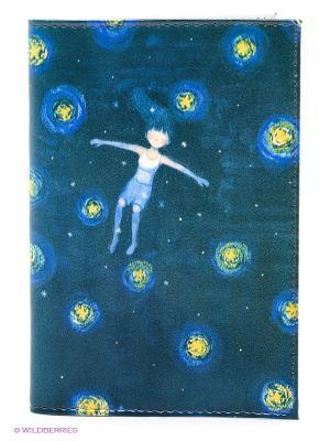 Обложка для автодокументов Девочка звездной ночью Mitya Veselkov. Цвет: морская волна, синий