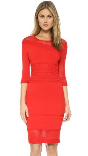 Ажурное платье вязки косичками Ohne Titel. Цвет: красный