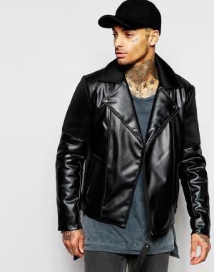 Dark Future Асимметричная байкерская куртка из искусственной кожи. Цвет: черный
