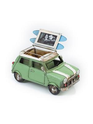 Модель Ретро Автомобиль зелёный, с фоторамкой и подставкой для ручек 4х7см PLATINUM quality. Цвет: зеленый