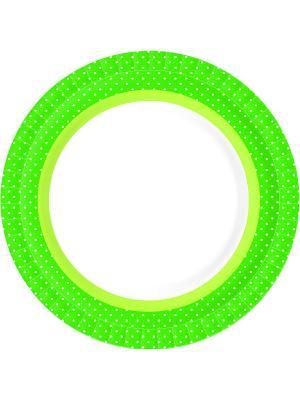 Тарелки бумажные 22 см BBQ GREE LINE DUNI. Цвет: зеленый