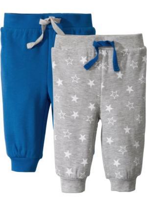 Мода для малышей: трикотажные брюки из биохлопка (2 шт.) (лазурный/светло-серый меланж) bonprix. Цвет: лазурный/светло-серый меланж