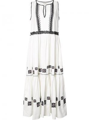 Длинное платье с вышивкой Suno. Цвет: телесный