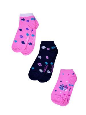 Носки женские,комплект 3шт Malerba. Цвет: синий, розовый