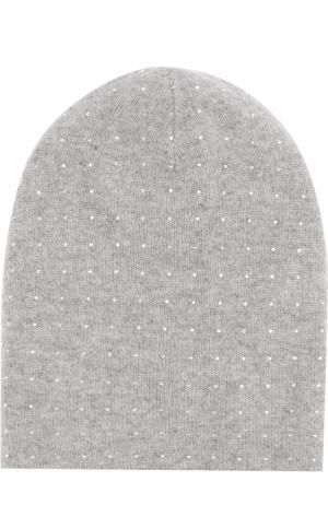 Кашемировая шапка с отделкой из страз Swarovski William Sharp. Цвет: серый