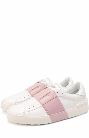 Кожаные кроссовки Open с контрастной вставкой Valentino. Цвет: светло-розовый