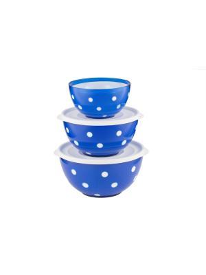 Набор салатников двухцветных Marusya (синий полупрозрачный) Berossi. Цвет: синий