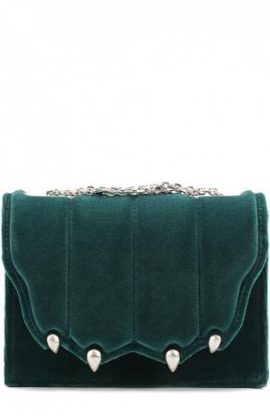 Бархатная сумка Paw на цепочке Marco de Vincenzo. Цвет: зеленый