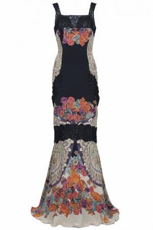 Вечернее длинное платье с кружевом Class Cavalli. Цвет: цветной