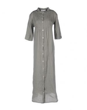 Длинное платье LA FABBRICA DEL LINO. Цвет: серый