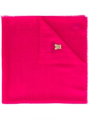 Шарф с вышитым медведем и необработанными краями Moschino. Цвет: розовый и фиолетовый